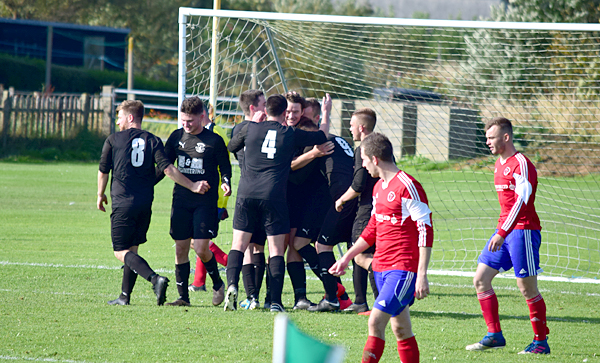 Vikings players celebrating the late winner at Orkney from Stevie Morris - Photo from The Orcadian website