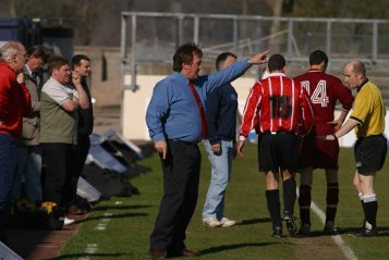 Duncan Gray - former Thurso FC manager seen here on the touchline during our 5-0 win V Bonar Bridge in the Morris Newton Cup Final at Victoria Park, Dingwall - Duncan guided The Vikings to the treble of league and two cups in 2002/03